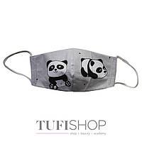 Детская маска ПАНДА для мальчиков от 6 до 8 лет (в индивидуальной упаковке) 1 шт