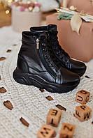 Детские зимние кроссовки ботинки для девочек кожа (черный) 32 Mililook