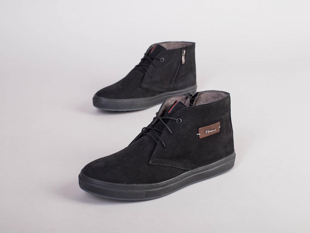 Ботинки мужские зимние черные на шнурках, из нубука 40