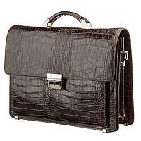 Портфель мужской KARYA 17270 кожаный Коричневый с тиснением под крокодила, фото 1