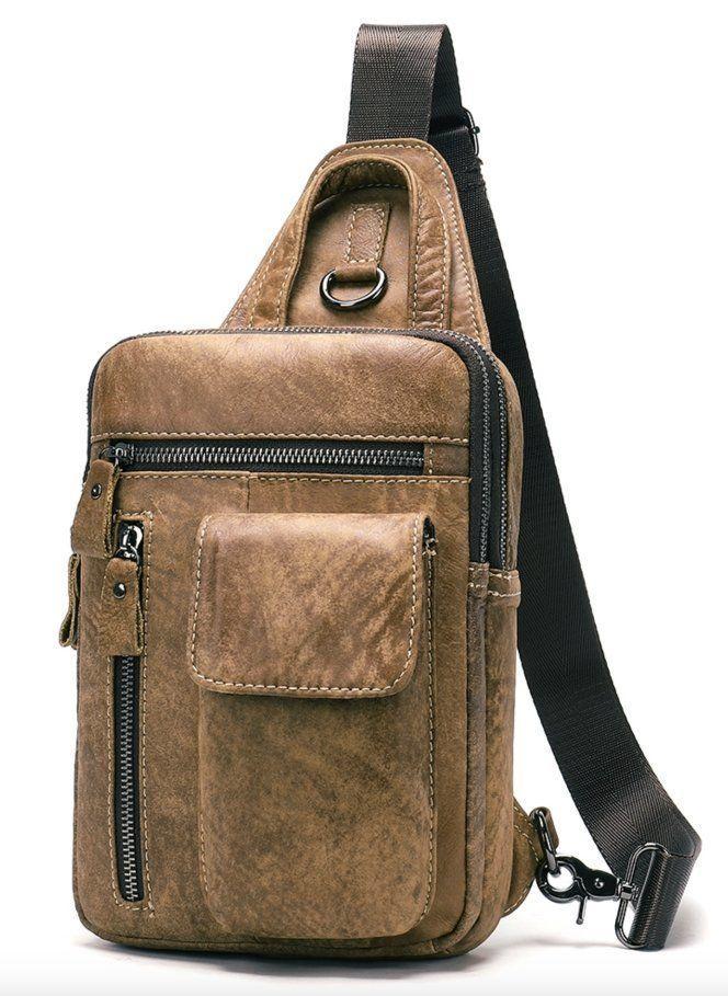 Сумка через плечо мужская Vintage 20096 Светло-коричневая