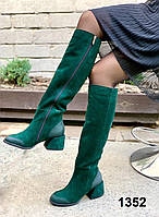 Сапоги женские деми замшевые черные на каблуке, фото 1