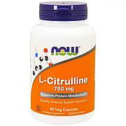 L-Цитруллин 750мг, Now Foods, L-Citrulline, 90 капсул