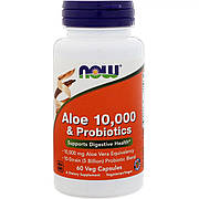Алое 10 000 & Пробиотики, Now Foods, 60 вегетарианских капсул