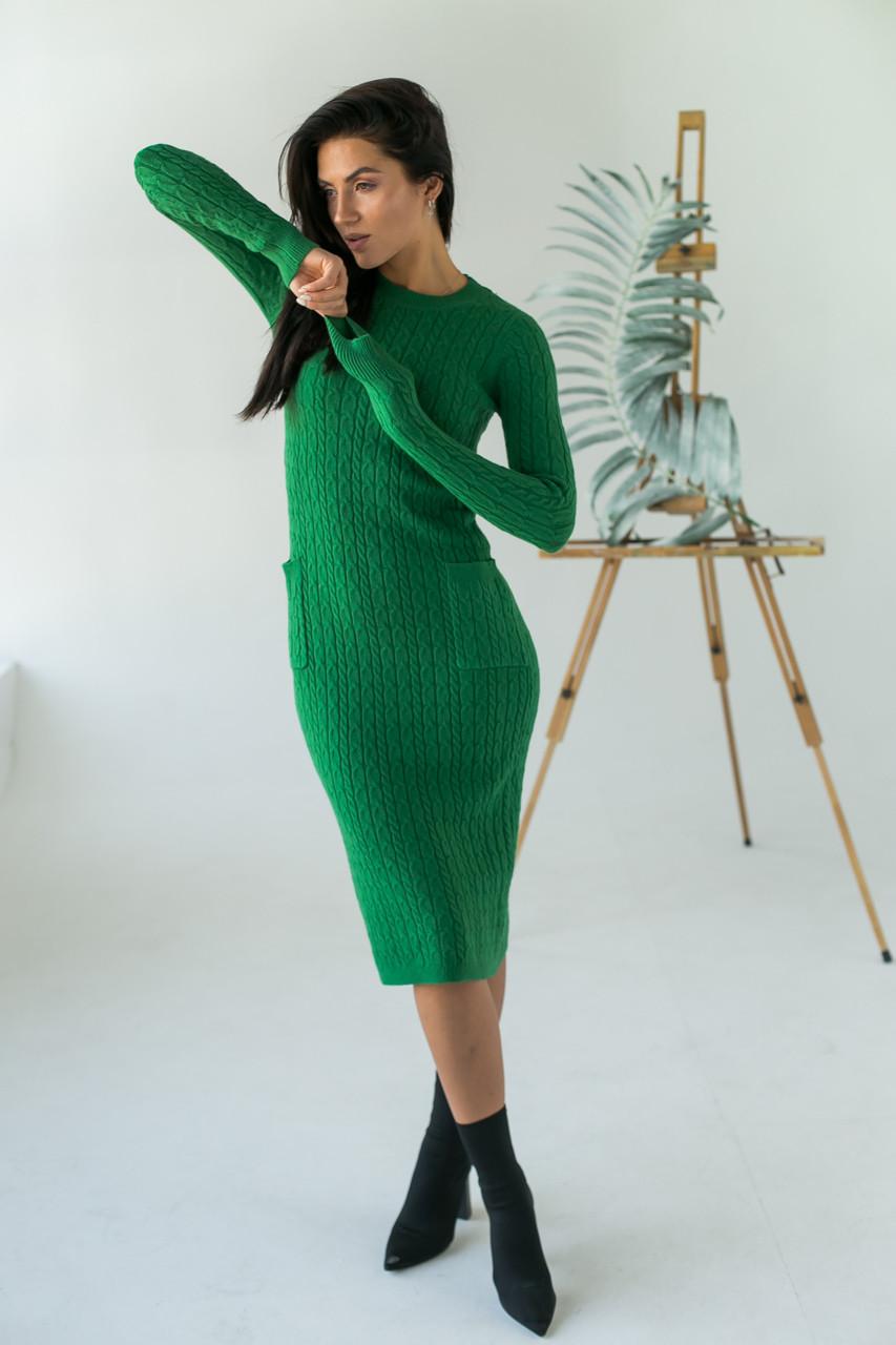 Длинное приталенное платье косичка с карманами ebelieve - зеленый цвет, L/XL (есть размеры)