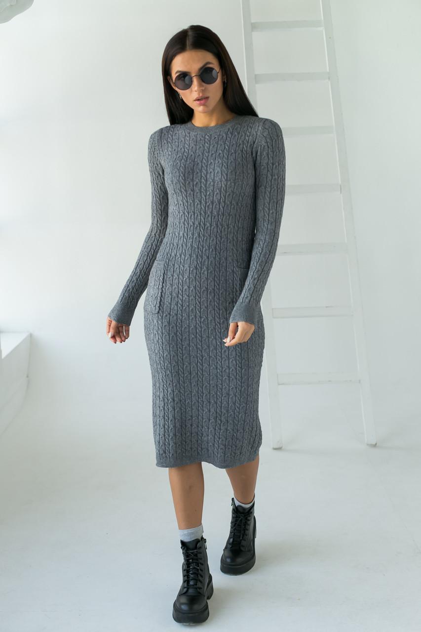 Длинное приталенное платье косичка с карманами ebelieve - серый цвет, S/M (есть размеры)