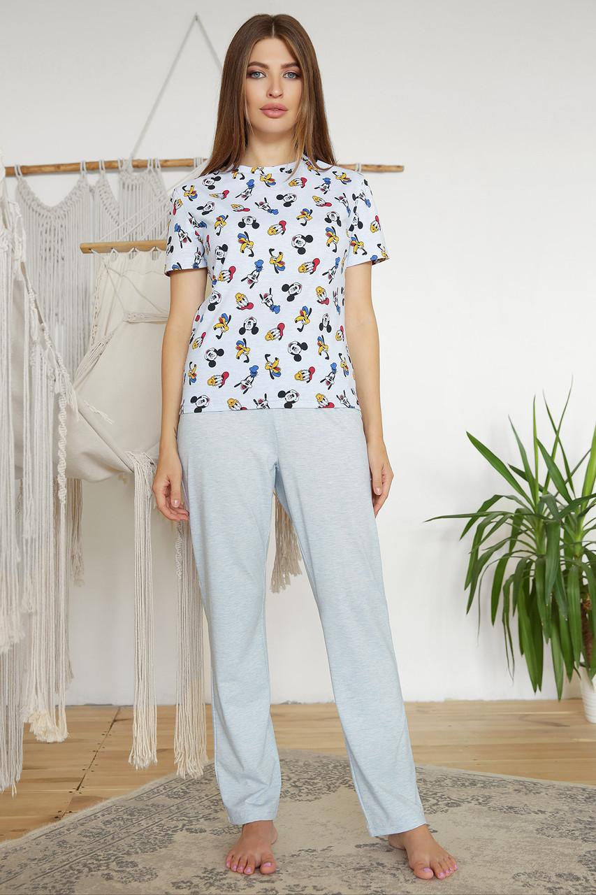 Жіноча трикотажна піжама з брюками