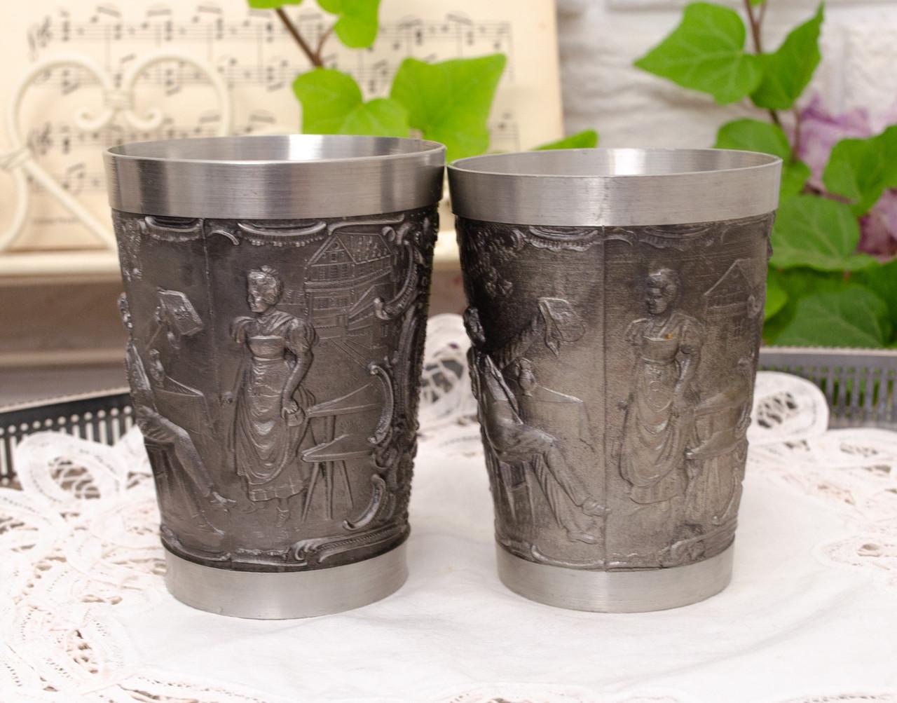 Два коллекционных оловянных бокала, пищевое олово, Германия, 350 мл