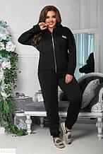 Стильный спортивный женский костюм батал большие размеры паетка черный