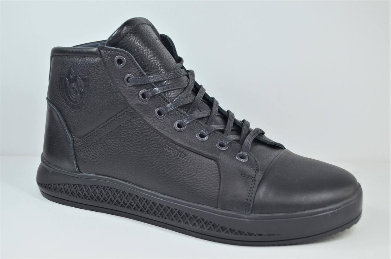 Мужские зимние кожаные ботинки черные Cardio 201