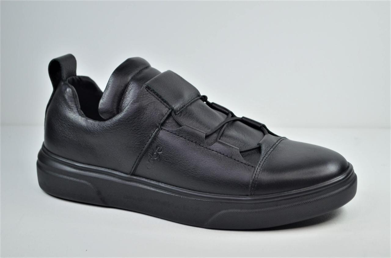 Мужские спортивные туфли кожаные кеды черные eD-Ge 777