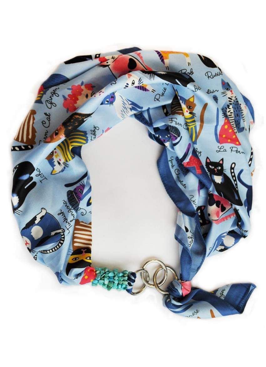"""Дизайнерський хустку my scarf """"Блакитний кіт"""", шийну хустку, подарунок жінці"""