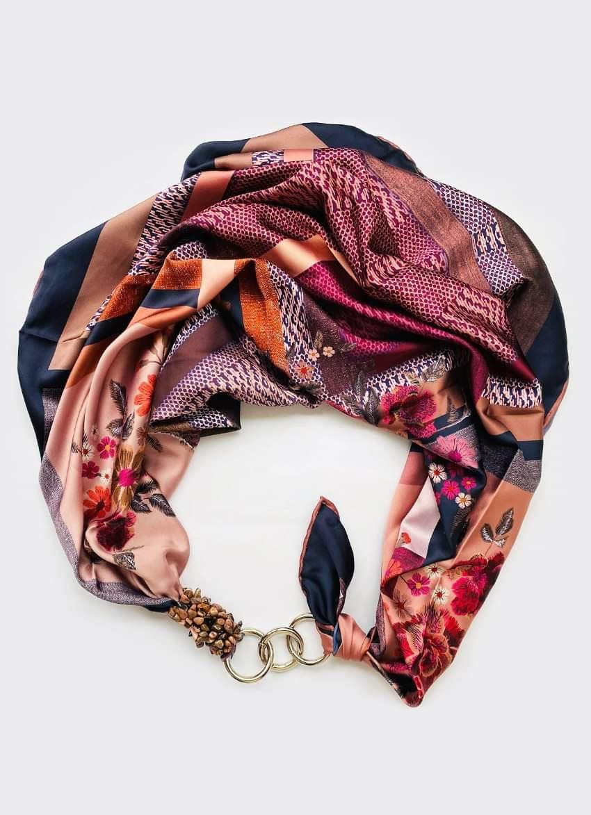 """Шелковый платок my scarf """"Персиковый сад"""", шейный платок, подарок женщине"""