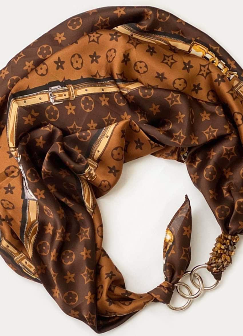 """Шовковий хустку my scarf """"Шоколадна пристрасть"""", шийну хустку, подарунок жінці"""