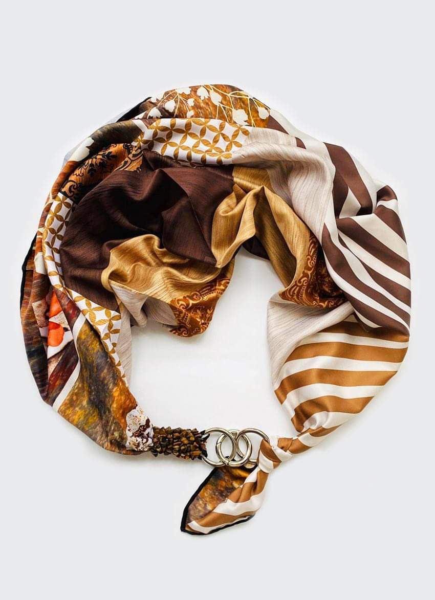 """Шелковый платок my scarf """"Мокко с карамелью"""", шейный платок, подарок женщине"""