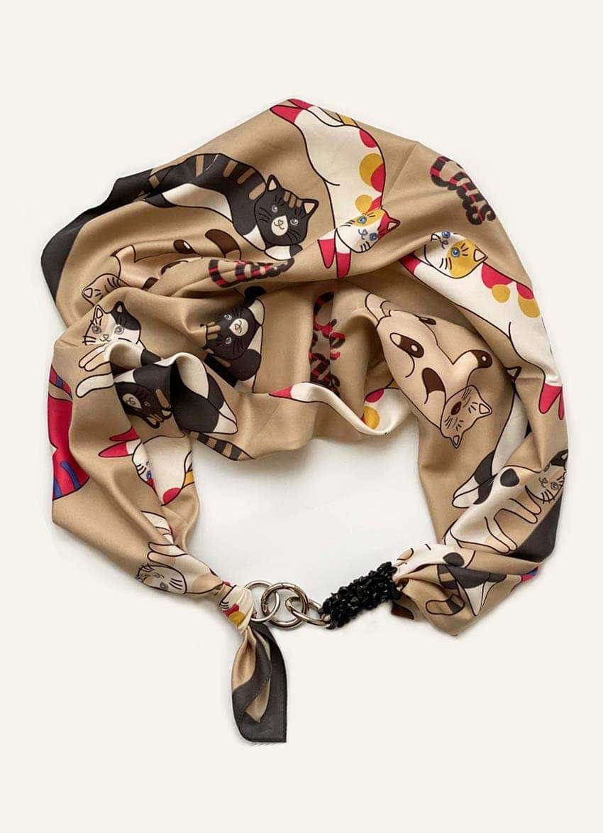 """Дизайнерский платок my scarf """"Котики"""", шейный платок, подарок женщине"""