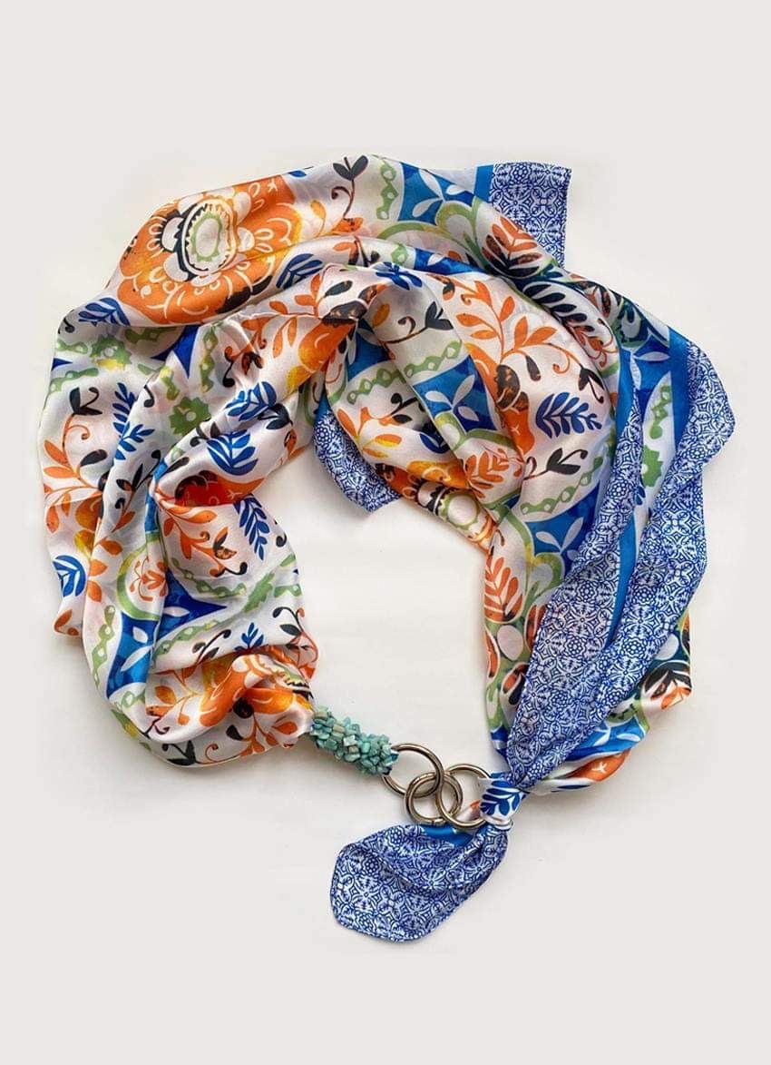 """Шовковий хустку my scarf """"Морська прогулянка"""" шийну хустку, подарунок жінці"""