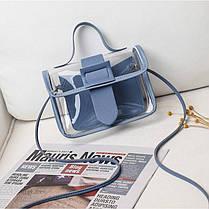 Стильна прозора міні сумка з пряжкою, фото 3