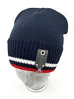 ОПТ, Вязаная шапка колпак для мальчика на флисе «Полоски 2»,  без завязок, фото 1