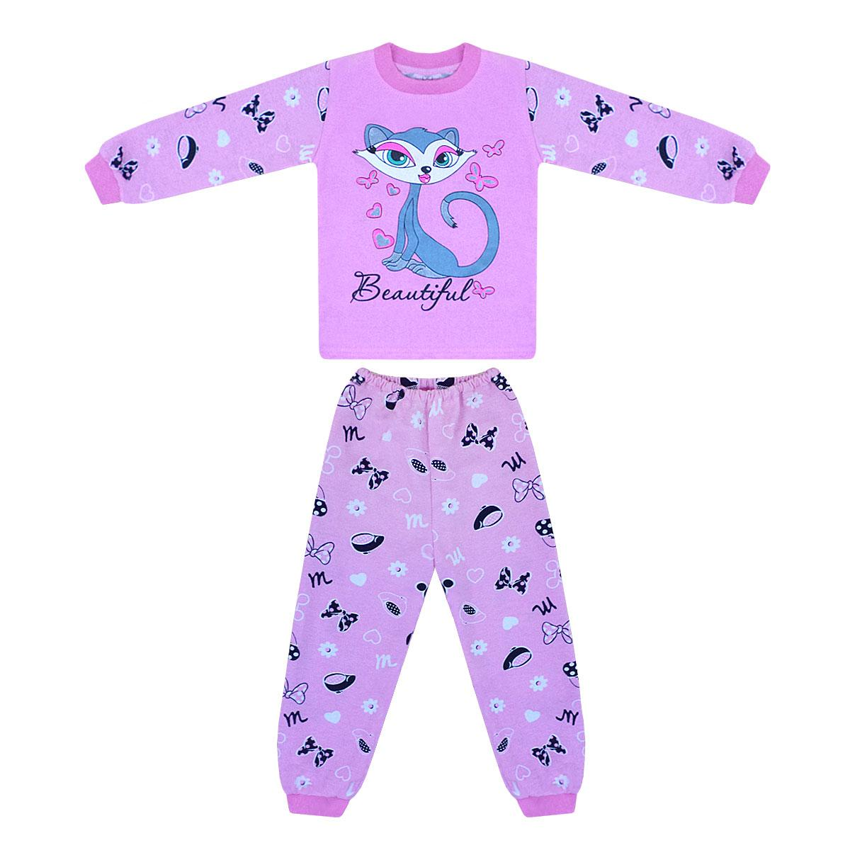 Тепла кольорова дитяча піжама для дівчинки Кішечка начісування