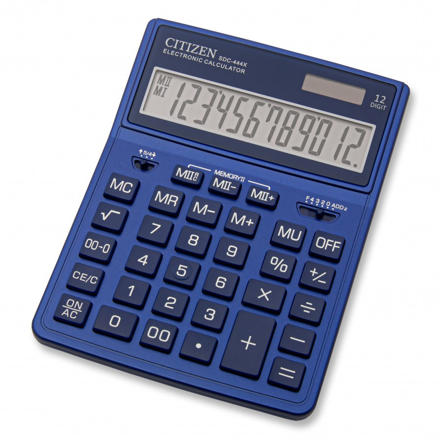 Калькулятор Citizen SDC444XRNVE бухгалтерский 12р., синий