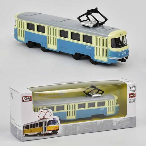 JT Трамвай металлопластик 6411 С (96/4) инерция, в коробке, фото 2