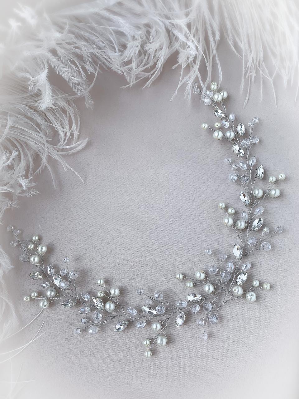 Веточка в прическу с кристаллами украшение для невесты
