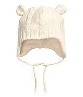 Вязаная шапочка на флисе для новорожденного  0-2 месяца