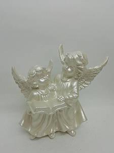 Статуэтка Ангелочки с книгой перламутрового цвета 20 см
