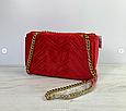 Сумка в стиле Гуччи Marmont бархатная / реплика гучи велюровая фактура (0074) Красный, фото 5