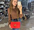 Сумка в стиле Гуччи Marmont бархатная / реплика гучи велюровая фактура (0074) Красный, фото 3