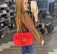 Сумка в стиле Гуччи Marmont бархатная / реплика гучи велюровая фактура (0074) Красный, фото 4