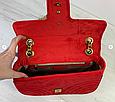 Сумка в стиле Гуччи Marmont бархатная / реплика гучи велюровая фактура (0074) Красный, фото 6