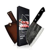 Сербский кованый нож 17 см с чехлом из натуральной кожи в подарочной коробке (SFKWGLS-02)