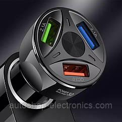 Зарядное устройство 3хUSB с подсветкой / Быстрая зарядка QC 3.0 / Адаптер питания в авто (12-32В, 7А)