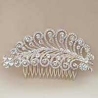 Срібний гребінь для волосся гілочка з квіточками і перлами
