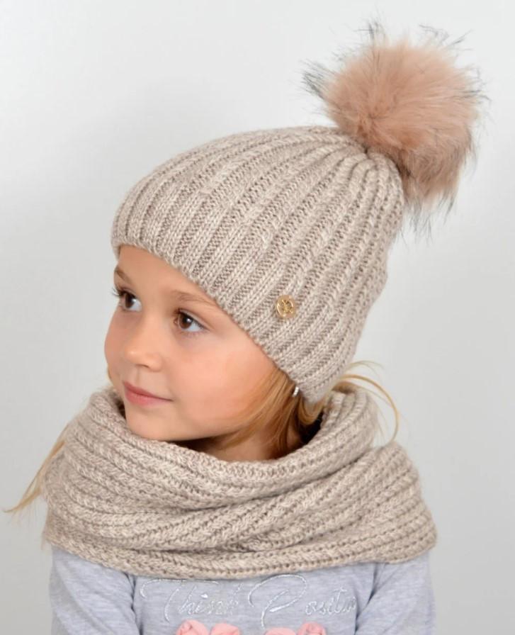 Зимняя теплая шапка и снуд Nord, бежевый