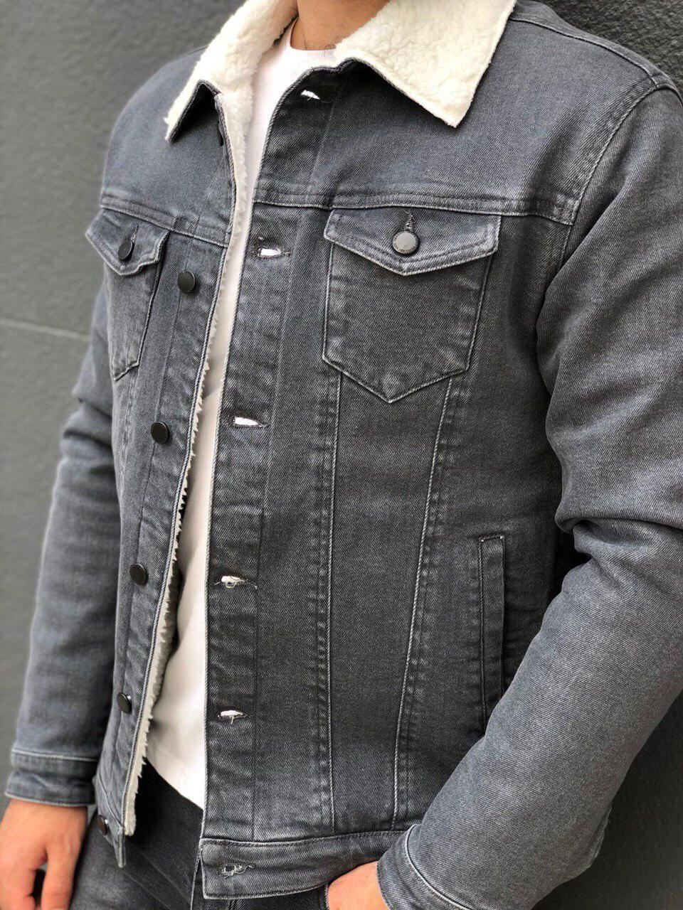 Мужская джинсовая куртка на меху M578 серая