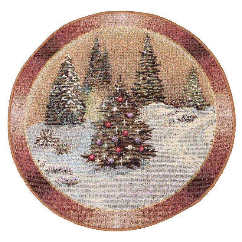 Новогодняя салфетка на стол круг 30 см Карпатская ночь