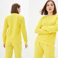 Женский желтый однотонный Свитшот без начеса, легкий свитер, кофта весна-осень