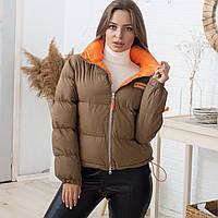 Укороченная женская куртка оливково-коричневого цвета Fashion (9235) без капюшона с оранжевой подкладкой L