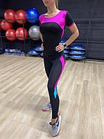 Женский спортивный комплект одежды с вставками из сетки 42-48 р
