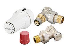 Комплект термостатический Danfoss, регулятор, набор клапанов для подключения радиатора/батареи RAE + RA-N +