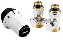 Комплект термостатический Danfoss, регулятор, набор клапанов для подключения радиатора/батареи RAS-C + RLV-KS