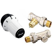 Комплект термостатический Danfoss, регулятор, набор клапанов для подключения радиатора/батареи RAS-C2 + RA -