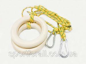 Кольца гимнастические с карабином   Д-180мм UA-295 (желтые)