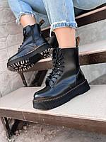 Ботинки женские чёрные кожаные на массивной подошве на шнуровке Dr Martens Jadon