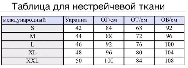 картинка таблиця розмірів для жіночої осінньої куртки