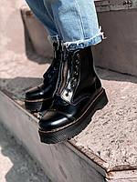 Ботинки женские чёрные кожаные на массивной подошве на шнуровке Dr Martens SINCLAIR