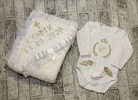 Комплект для крещения девочки с именной вышивкой, цвет айвори